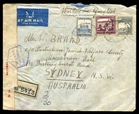 Lot 4224 [1 of 2]:1940: use of 50m purple, 15m blue & 10m grey, cancelled with oval 'REGISTERED/B/1DE40/JERUSALEM' (B1) on air cover to Sydney, NSW with blue registration label, sealed at left with 'PC 22./OPENED BY/CENSOR./69/13833' label & hexagonal 'PALESTINE/PASSED BY/CENSOR/I.23' (B1) in blue.