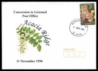 Lot 1479:Acacia Ridge (2): - 'ACACIA RIDGE/11NOV1996/Q 4110' on Alexander Conversion to LPO cover franked with 45c pets.  RO c.1926; PO 1/7/1927; LPO 11/11/1998.