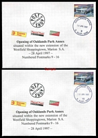 Lot 8479:Oaklands Park Annexe: 'OAKLANDS PARK/28APR1997/[code]/S. AUST. 5046' on 45c Classic Cars for codes 9-16 on covers with 'Opening of Oaklands Park Annex' cachets, all unaddressed. (8) LPO 28/4/1997.