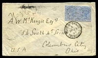 Lot 4672 [1 of 2]:1892 use of 2½d bright blue pair, cancelled with light 'TUNAPUNA/A/SP22/92/TRINIDAD' (C1), on cover to Columbus City, with 'PORT·OF·SPAIN/A/SP23/92/TRINIDAD' (B1) transit & 'COLUMBUS, OHIO./OCT4/5AM/92/REC'D.' (A1-) arrival backstamp.