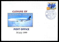 Lot 2594:Melbourne Airport (2): - WWW #40B 'VIC 3045/[aeroplane]/30JUL1999/[airport]/MELBOURNE AIRPORT' (Closing day), on 45c on Alexander closure of Melbourne Airport cover.  PO 14/8/1970; closed 30/7/1999.