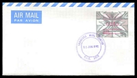 Lot 4624:Canberra Mail Centre: 'CANBERRA MAIL CENTRE/10JAN1992/A.C.T. 2610', on 45c A29 Frama on unaddressed Air Mail cover.  Renamed from Canberra Mail Exchange MC 5/2/1978.