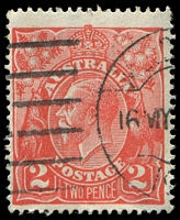 Lot 450:2d Red Die I - [10L55] Thick protruding BLC and spot in left frame in centre of upper projecting point, one short perf, small thin and corner bend