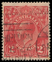 Lot 491:2d Red Die I - [16L45] Notch 6mm below TLC in left frame and small flaw below lower left point of 2 in left value shield, toned corner perf.