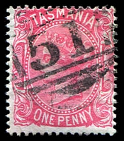 Lot 1370:51: on 1d Sideface.  Allocated to La Trobe-PO 31/8/1860; renamed Latrobe PO 26/1/1873.