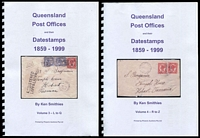 Lot 7969 [2 of 2]:Queensland Post Offices and their Datestamps 1859-1999 Vol. 1-4 by Ken Smithies in 2011, 1,593pp, New. Copious coloured Illustrations. Essential for any collector of Commonwealth-period postmarks. This is a retail item and is being sold at a fixed price.