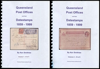 Lot 7969 [1 of 2]:Queensland Post Offices and their Datestamps 1859-1999 Vol. 1-4 by Ken Smithies in 2011, 1,593pp, New. Copious coloured Illustrations. Essential for any collector of Commonwealth-period postmarks. This is a retail item and is being sold at a fixed price.