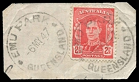 Lot 1592:Emu Park: - 2 strikes of 'EMU PARK/-6MY47/QUEENSLAND' on 2½d red KGVI.  Renamed from Hewittville PO 1/1/1890.