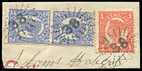 Lot 1522:38: 3 strikes of rays on 1d & 2d 4-Corners pair.  Allocated to Barcoo-PO 1/4/1864; renamed Blackall PO 31/12/1868.