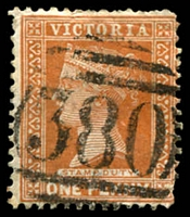 Lot 2516:380: on 1d brown.  Allocated to Ondit-PO 1/1/1862; renamed Beeac PO 17/6/1872; LPO 29/3/1994.