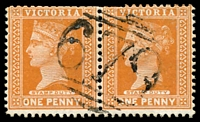 Lot 10770:679: '679' on 1d brown pair. [Rated SS]  Allocated to Barkstead-PO 8/2/1869; closed 30/12/1972.