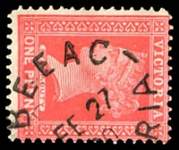 Lot 13433:Beeac: - WWW #20 unframed 'BEEAC/FE27/?0/[VICTO]RIA' on 1d pink.  Renamed from Ondit PO 17/6/1872; LPO 29/3/1994.