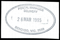 Lot 12080:Bendigo Delivery Centre: - WWW #110 double-oval 'POSTAL MANAGER/DELIVERY/26MAR1995/BENDIGO, VIC. 3550' (ERD).  DC 16/10/1995.