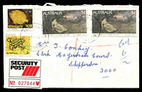 Lot 2603 [1 of 2]:Bendigo Mail Centre: - WWW #510 violet boxed 'REGISTRATION/MAIL CENTRE/5FEB1986/BENDIGO/VIC. 3550' backstamp on Security Post cover, franked with 3c Frog, 80c Pineapple Fish & $2 Painting x2, 5 Feb 1986 Mildura cds.  MC 13/11/1977.