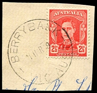 Lot 2610:Berrybank: - WWW #20A 'BERRYBANK/11MR48/VIC-AUST' on 2½d red KGV.  Renamed from Berry Bank PO c.1915; closed 16/3/1978.