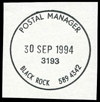 Lot 2619:Black Rock (2): - WWW #405 'POSTAL MANAGER/30SEP1994/3193/BLACK ROCK 589 4342' 405. [The first offered by us.]  RO 10/4/1922; PO c.1924; LPO 1/12/1997.