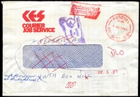 Lot 14190 [2 of 2]:Blackburn Mail Centre: - WWW #320 46x34½mm violet rectangle 'DEAD LETTER OFFICE/5MAR1983/MAIL CENTRE BLACKBURN/VICTORIA 3130/AUSTRALIA' backstamp on RTS Courier Job Service window-faced cover, red 'BORONIA/PAID/11A21AP83/VIC-AUST-3155' (B1) cancel. [Rated R]  MC 3/8/1975; renamed Eastern Mail Centre MC 1/10/1991.