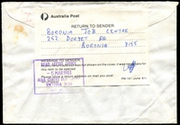 Lot 14190 [1 of 2]:Blackburn Mail Centre: - WWW #320 46x34½mm violet rectangle 'DEAD LETTER OFFICE/5MAR1983/MAIL CENTRE BLACKBURN/VICTORIA 3130/AUSTRALIA' backstamp on RTS Courier Job Service window-faced cover, red 'BORONIA/PAID/11A21AP83/VIC-AUST-3155' (B1) cancel. [Rated R]  MC 3/8/1975; renamed Eastern Mail Centre MC 1/10/1991.