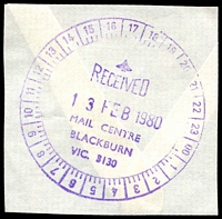 Lot 2624:Blackburn Mail Centre: - WWW #540 50mm 24-hr 'RECEIVED/13FEB1980/MAIL CENTRE/BLACKBURN/VIC. 3130', in violet. [Rated 3R]  MC 3/8/1975; renamed Eastern Mail Centre MC 1/10/1991.