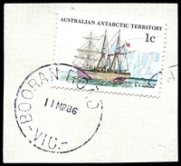 Lot 2630:Booran Road: - WWW #10C BOORAN ROAD   /11MR86/VIC.' (S.E.9 removed) in violet on 1c AAT.  PO 17/12/1934; LPO 12/8/1993.