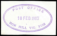 Lot 2637:Box Hill: - WWW #155 violet double-oval 'POST OFFICE/18FEB1983/BOX HILL VIC. 3128' (ERD).  PO 1/2/1861; replaced by Box Hill Business Centre BC c.-/10/1991.