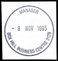 Lot 12444:Box Hill Business Centre: - WWW #320 'MANAGER/8NOV1995/BOX HILL BUSINESS CENTRE 3128' (LRD). [The first offered by us.]  Replaced Box Hill BC c.-/10/1991.