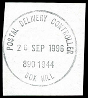 Lot 13661:Box Hill Business Centre: - WWW #340 'POSTAL DELIVERY CONTROLLER/26SEP1996/890 1944/BOX HILL'. [Only recorded date - the first offered by us.]  Replaced Box Hill BC c.-/10/1991.