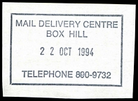 Lot 2640:Box Hill Delivery Centre: - WWW #30 rectangle 'MAIL DELIVERY CENTRE/BOX HILL/22OCT1994/TELEPHONE 890-9732' (LRD).  DC 1/7/1992.