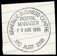 Lot 12455:Braeside Business Centre: - WWW #320 'BRAESIDE BUSINESS CENTRE/POSTAL MANAGER/25AUG1995/VIC AUST 3195'. [Only recorded date - The first offered by us.]  Renamed from Mordialloc BC 13/6/1995.
