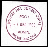 Lot 2644:Braeside Delivery Centre: - WWW #110 'BRAESIDE MAIL DELIVERY CENTRE/PDC1/6DEC1996/ADMIN./PHONE 9580 2306' (ERD) in red. [The first offered by us.]  DC 13/6/1995.