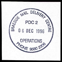 Lot 2645:Braeside Delivery Centre: - WWW #130 'BRAESIDE MAIL DELIVERY CENTRE/PDC2/06DEC1996/OPERATIONS/PHONE 9580 2306'. [Only recorded date - the first offered by us.]  DC 13/6/1995.
