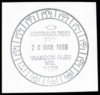 Lot 2496:Brandon Park: - WWW #220 12-hr clock 'AUSTRALIA POST/PAID/20MAR1996/BRANDON PARK/VIC./3170' (LRD).  Renamed from Mulgrave North PO 6/4/1994.