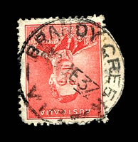 Lot 2497:Brandy Creek (2): Office10 'BRANDY CREEK/10JE37/VIC' on 2d red KGVI (cut-to-shape). [Rated 3R]  RO c.1902; PO 1/7/1927; closed 19/4/1958.