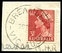 Lot 2500:Breamlea: - WWW #10A 'BREAMLEA/26MY54/VIC-AUST', on 3½d red QEII. [Rated R]  PO 1/7/1947; LPO 1/10/1993.