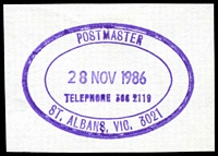 Lot 2899:St. Albans: - WWW #620 violet triple-oval 'POSTMASTER/28NOV1986/TELEPHONE 366 2119/ST. ALBANS, VIC. 3021' (LRD). [Rated PPP]  PO 22/10/1888.