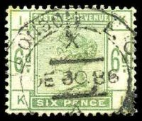Lot 3663:1883-84 Lilacs & Greens SG #194 6d dull green [KI], Cat £200, tone spot at top left.