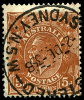 Lot 2866:5d Orange-Brown Die II - [3L35] Minute spot below I of AUSTRALIA, spot on emu's back etc