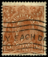 Lot 828:5d Orange-Brown Die II - [3L32] Spot at 3 o'clock of 1st bloom of left wattle spray, left part of line in orb of crown missing etc