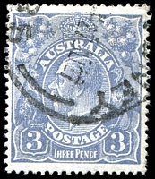 Lot 696:3d Blue Die Ia - [3,4R38] White spot behind right 3, etc, couple of shortish perfs.