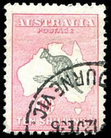 Lot 206:10/- Grey & Pink BW #50 Slightly misplaced roo, Cat $200, blunt BRC, couple of short perfs.