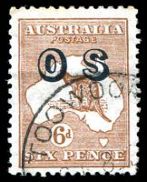 Lot 157:6d Chestnut Overprinted 'OS' BW #22(OS) Cat $60, slight toning of a couple of perfs.