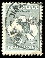Lot 106:2d Grey - BW #6(2)g [2R10] Scratch under P of POSTAGE, minor soiling, Cat $125.