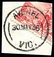 Lot 12959:Avenel: - 'AVENEL/30MAY36/VIC.' (arcs 10,9), cut-to-shape through stamp. [Rated R]  PO 2/6/1858; LPO 1/10/1993.