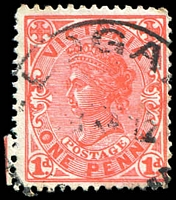 Lot 15328:Logan: - WWW #25 29mm 'LOGA[N]/[?]12/[VICTORIA]' on 1d pink. [Rated PPP]  PO 18/1/1886; closed 7/5/1974.