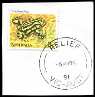 Lot 16253:Seymour Mail Centre: - 'RELIEF/5AU86/91/VIC-AUST' (Only recorded date) on 3c Frog.  MC 13/11/1977.
