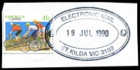 Lot 15250:St. Kilda (2): - WWW #410 triple-oval 'ELECTRONIC MAIL/19JUL1990/ST.KILDA VIC 3182' (ERD) on 41c Cycling. [The first time offered by us]  Renamed from Windsor PO 1/7/1858; closed 2/2/2001.