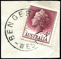 Lot 3527:Benger: - 'BENGER/27JY57/WESTN AUST.' (B28) on 4d QEII.  Renamed from Mornington RO 1/7/1904; PO 1/2/1914; closed 1/6/1984.