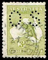 Lot 760:3d Olive Die I - BW #12bc perf small 'OS', Cat $50, some short perfs.