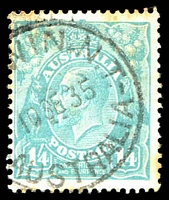 Lot 1492:Darwin (1): - '[DAR]WIN,N.T./18SE35/AUSTRALIA' on 1/4d turquoise KGV (toned).  Renamed from Port Darwin PO 1/1/1911; closed 19/3/1942.