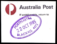 Lot 1559:Blackall: - violet double-oval 'POSTMASTER/22OCT1985/BLACKALL 4472' on piece. [Rated 3R]  Renamed from Barcoo PO 31/12/1868.